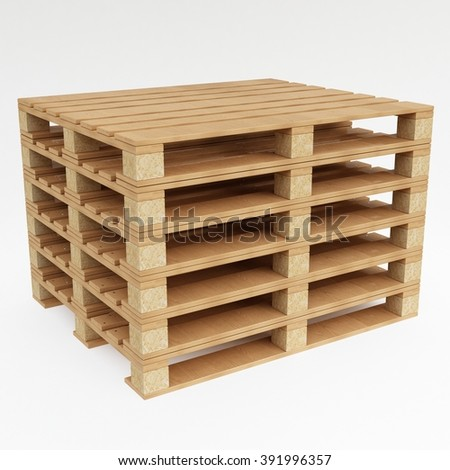 euro pallet isolated on white background with shadow