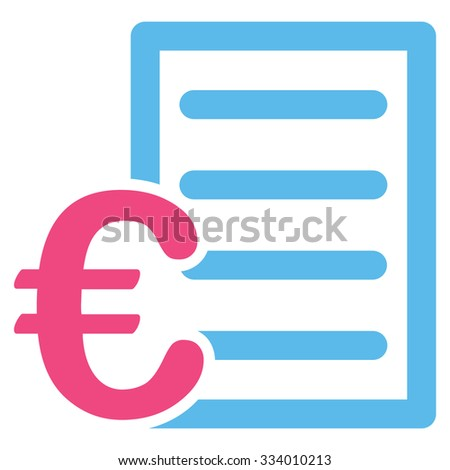 Euro Pricelist glyph icon. Style is bicolor flat symbol, pink and blue colors, rounded angles, white background.
