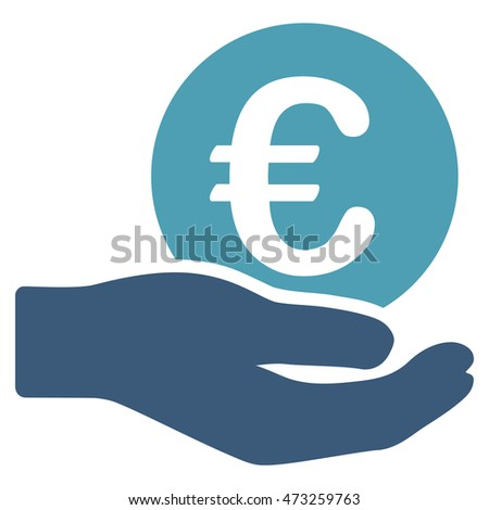 Euro Salary icon. Glyph style is bicolor flat iconic symbol, cyan and blue colors, white background.