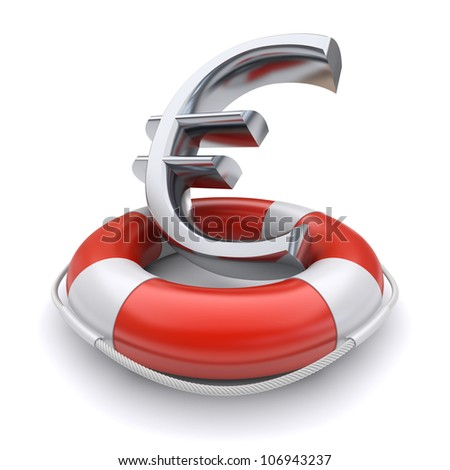 Euro symbol in lifebuoy. Business concept. 3d image