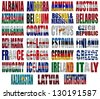 Europe countries (From A to L)  flag words on a white background - stock photo