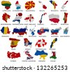 Europe countries From L to W  flag maps on a white background - stock photo