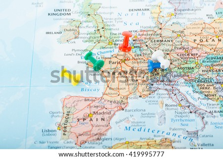 Europe map pins travel your planning stock photo 419995780 europe map pins travel for your planning trip gumiabroncs Choice Image