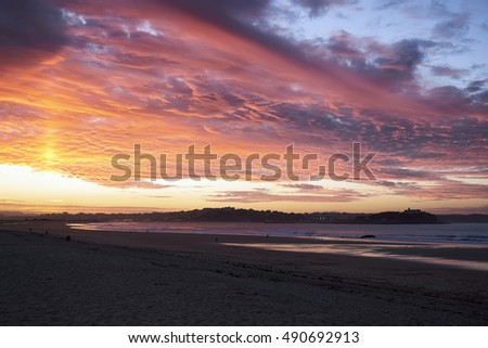 Europe, Spain, Cantabria, Santander, Sunset above Santander city from Somo Beach in summer.