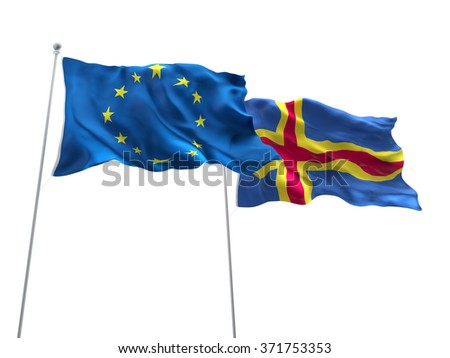 Europe Union & Aland Flags are waving on the isolated white background