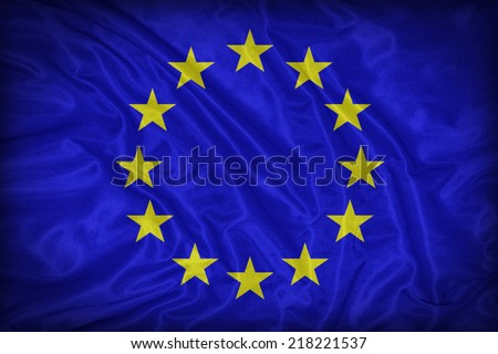 Europe Zone flag pattern on the fabric texture ,vintage style