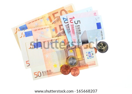 european currency euro banknotes isolated on white background