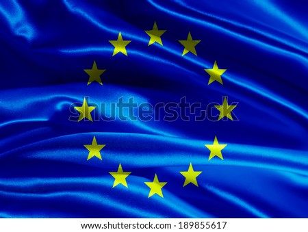 European flag fabric with waves