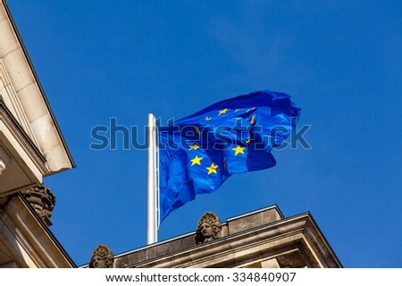 European flag on the Reichstag building Berlin