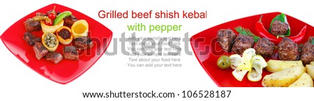 european food: grilled beef meat on red china plate isolated on white background with capers and bbq sauce