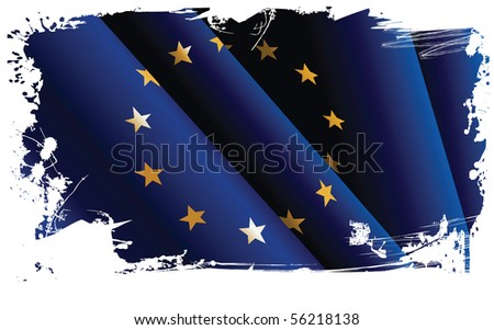 European grunge flag. All elements and textures are individual objects. Vector illustration scale to any size.