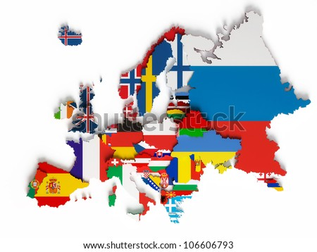 Europe map jointed country flags stock vector 222167560 shutterstock european map with national borders with countries flags isolated on white background gumiabroncs Images