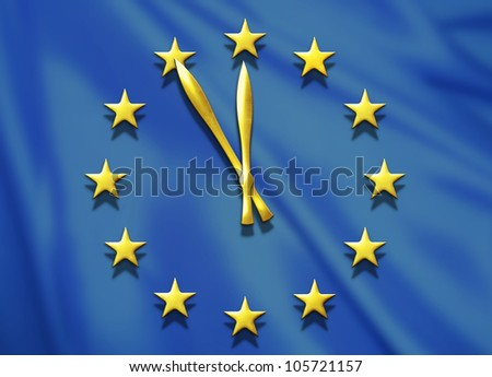 European Union flag with clock between stars - Europe crisis concept