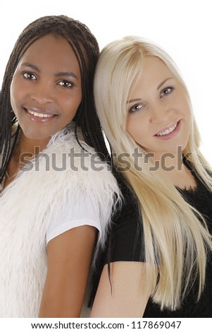 European woman with african woman