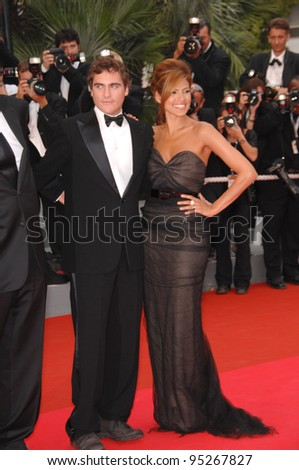 "Eva Mendes & Joaquin Phoenix at screening for ""We Own the Night"" at the 60th Annual International Film Festival de Cannes. May 25, 2007  Cannes, France.  2007 Paul Smith / Featureflash"