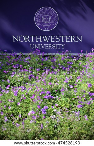 EVANSTON, IL - JULY 8: An entrance to Northwestern University on July 8th, 2016. Northwestern University is a private research university located in Evanston, Illinois.