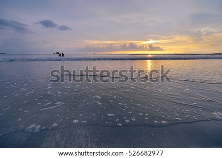 Evening light on the beach with beautiful waves.southern of Thailand.
