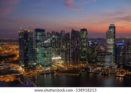 Evening view of Singapore at Marina Bay Sands.    July 18, 2011