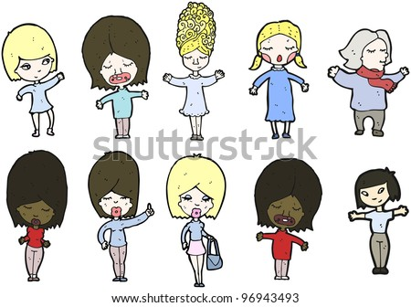 everyday women cartoon collection (raster version)