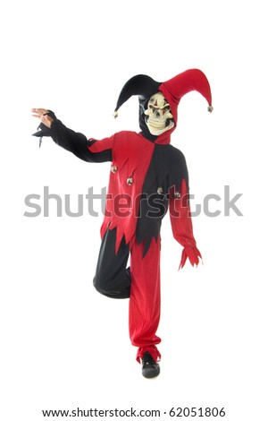 evil jester on a white background