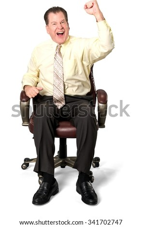 Excited Caucasian elderly man with short medium brown hair in business casual outfit celebrating - Isolated