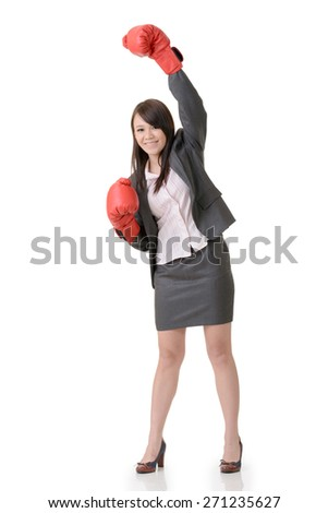 Exciting gloved business woman on white background.