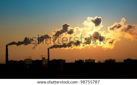 Exhaust smoke / Air pollution / Sunrise / Silhouette