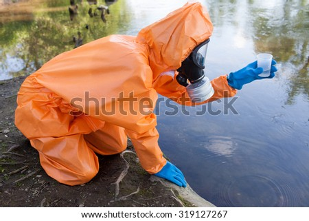 Expert checking radioactivity in water