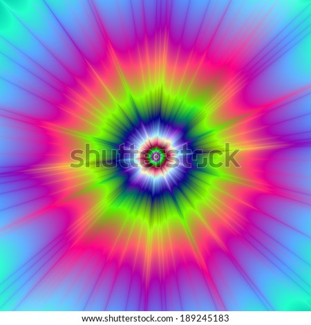 Explosion in Blue Green and Pink / Abstract fractal image with a color explosion design in blue, green and pink.