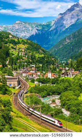 Express train at the old Gotthard railway. The traffic will be diverted to the Gotthard Base Tunnel in December 2016.