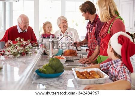 Happy Family Having Christmas Dinner Living Stock Photo 674369821 ...