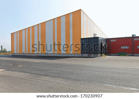 Exterior of colourful distribution centre warehouse