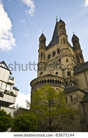 exterior of the Great St Martin church in Cologne