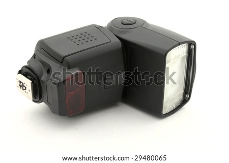 External camera flash isolated on white background