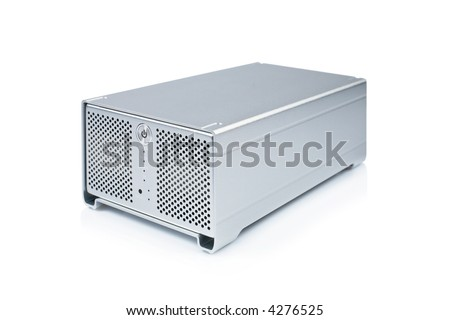 External hard drive reflected on white background