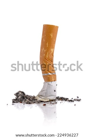 Extinguished cigarette butt isolated on white background