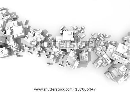 Extra large, abstract city aerial view, with white buildings over white background