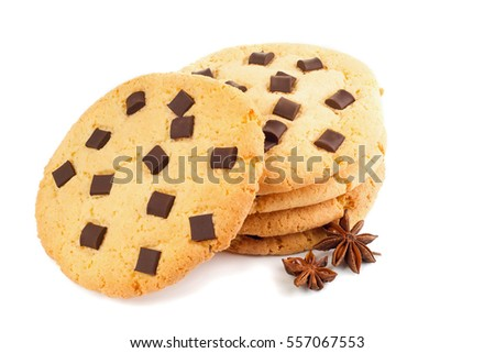 Extreme closeup image of chocolate chips cookies, isolated on white background