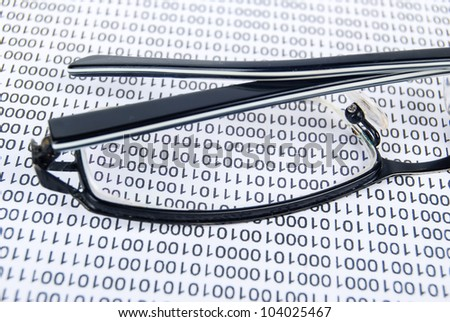 Eyeglasses on binary code