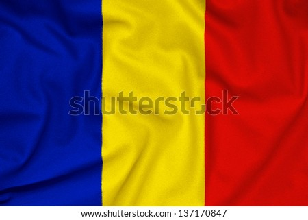 Fabric texture of the Romania flag