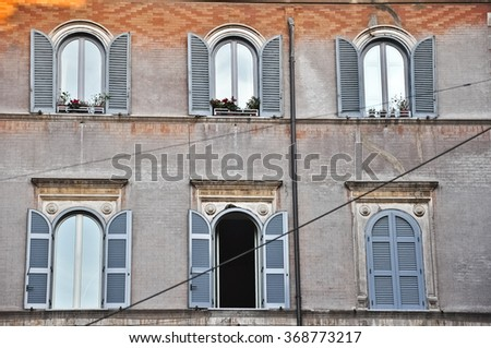 Facade in Piazza Navona in Rome.