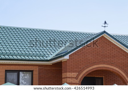 Roof corrugated sheet on houses individual stock photo for Modern roofing materials
