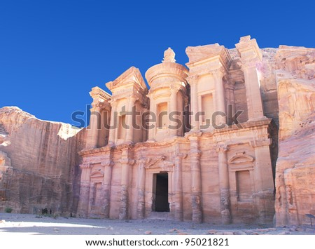 Facade of Monastery at Petra, Jordan