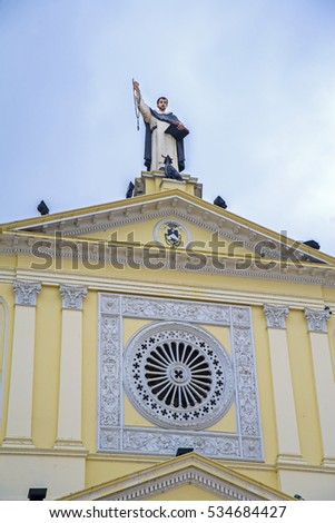 Facade of the Santo Domingo church in Guayaquil city, Ecuador