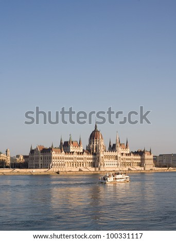 Facade of the the splendid Hungarian parliament building on the Danube river.