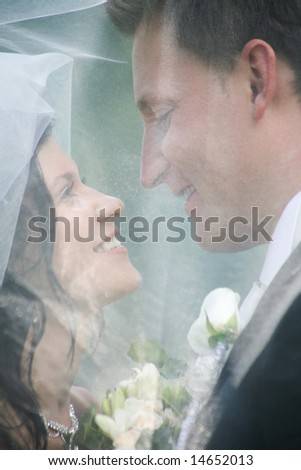 Face of newly wedded looking at each other under veil