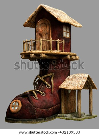 Fairy boot house 3D illustration