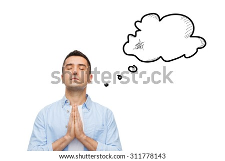 faith, religion and people concept - man with closed eyes praying to god with empty text bubble doodle