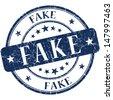 Fake Blue stamp - stock photo