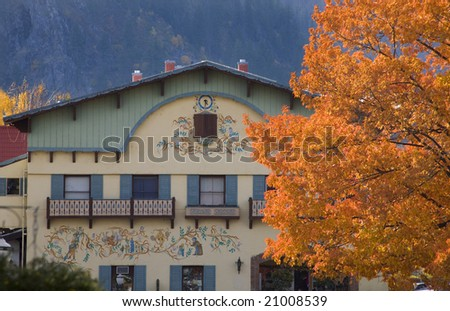 Fall Colors German Buildings Orange Maple Leaves Leavenworth Washington, October 10, 2008